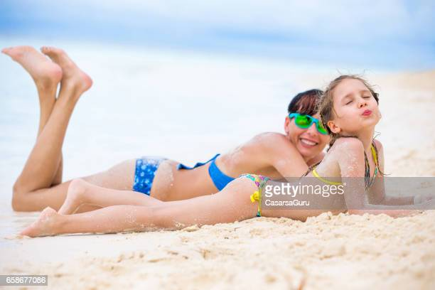 Nudist beach mom and daughters